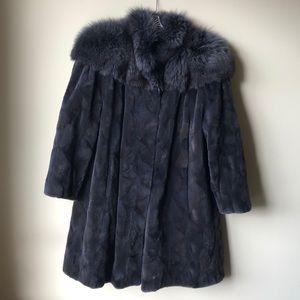 Jackets & Blazers - Amazing Sheared Beaver and Fox Gray Fur Coat